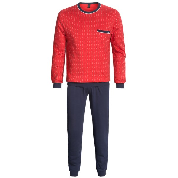 Calida Familie Time Cotton Cuff Pajamas - Crew Neck, Long Sleeve (for Men)