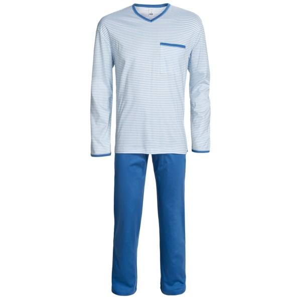 Calida Diego Cotton Pajamas - V-neck, Long Sleeve (for Men)
