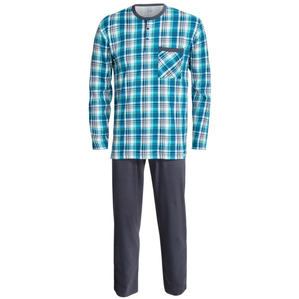 Calida by Night Cotton Pajamas - Henley Collar, Long Sleeve (For Men)