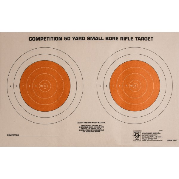 CLOSEOUTS . Prepare for shooting competitions with Hoppeand#39;s 50 yard small bore targets. The pack of 20 paper targets help you perfect your aim. Available Colors: SEE PHOTO.