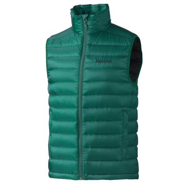 CLOSEOUTS . Ideal for layering under a shell, Marmotand#39;s Zeus down vest provides low-bulk core warmth. Itand#39;s also an effective standalone piece in cool and damp conditions, thanks to 700 fill power down thatand#39;s treated with Down Defender for water resistance. Available Colors: GATOR, STEEL. Sizes: S, M, L, XL, 2XL.