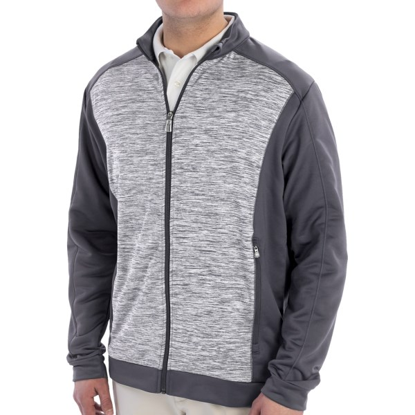 CLOSEOUTS . A welcome refuge when youand#39;re on the go and your weather app is acting up, Adidas Golfand#39;s Spacedye Block jacket is the warm, wicking multi-tasker of your dreams. The soft, terry-knit interior helps keep things nice and cozy, but the light, breathable design is also totally ready to wick moisture and dry quickly when things heat up. Available Colors: LEAD/SOLAR BLUE, RICH BLUE/SOLAR SLIME, BLACK/CLEAR ONIX. Sizes: S, M, L, XL, 2XL.