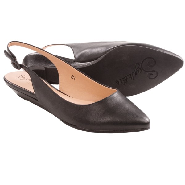 CLOSEOUTS . Pointy toes, perfect fit. Seychellesand#39; Reflection sling-back shoes are distinguished by their sleek profile and allover leather coverings, including the scant wedge heel. Available Colors: BLACK, VACCHETTA. Sizes: 6, 6.5, 7, 7.5, 8, 8.5, 9, 9.5, 10.