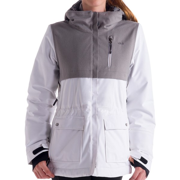 CLOSEOUTS . Hit the slopes in stylish comfort when you don Loleand#39;s Morgan ski jacket. Featuring Thermaglow Lite insulation, this jacket keeps your body heat in and lets moisture out, and the water-resistant exterior combined with critical sealed seams block moisture. Plus, the cool contrasting fabrics and sleek lines make for achic look perfect for the lift and lodge. Available Colors: BLACK, WHITE. Sizes: XS, S, M, L, XL.