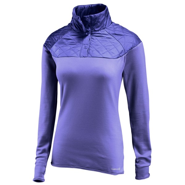 CLOSEOUTS . Get your winter hike on with Merrelland#39;s Soleil Mixer pullover shirt. This cozy original features a quilted, insulated overlay at the shoulders and collar, and is paired with a sporty, stretchy fleece body and sleeves for easy-moving, heat-retaining warmth. Available Colors: OXFORD, BLACK, NOVA. Sizes: XS, S, M, L, XL.