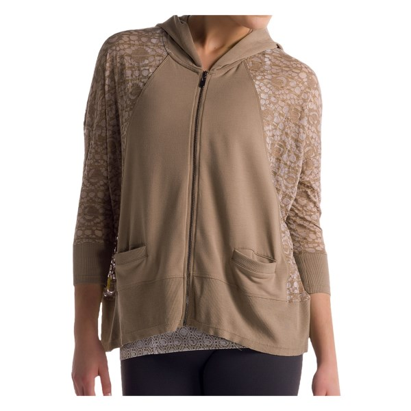 Lole Dharma Cardigan Hoodie - Modal, Full Zip, 3/4 Sleeve (For Women)