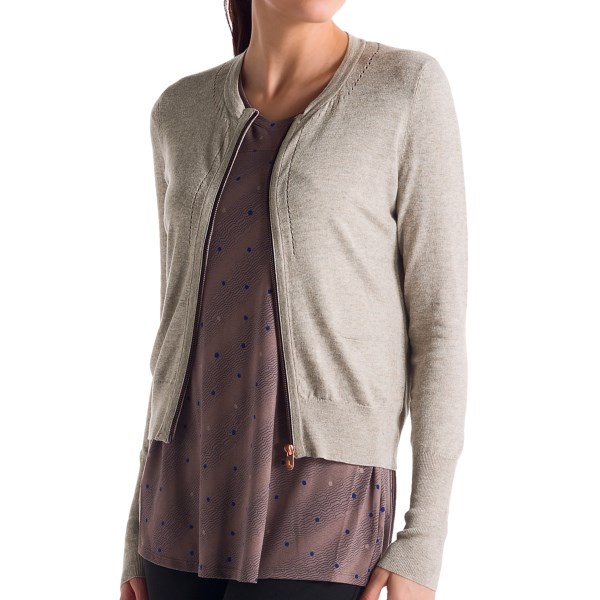 CLOSEOUTS . Fall in fashion-love with Loleand#39;s Marbella cardigan sweater, a pointelle-accented charmer with a cute, cropped hemline and modern zip-up front. Light, luxuriously soft knit fibers bring that little touch of luxury you deserve. Available Colors: NORTH SEA HEATHER, SILVER CLOUD HEATHER, DARK CHARCOAL HEATHER, BEAUJOLAIS HEATHER. Sizes: XS, S, M, L, XL.