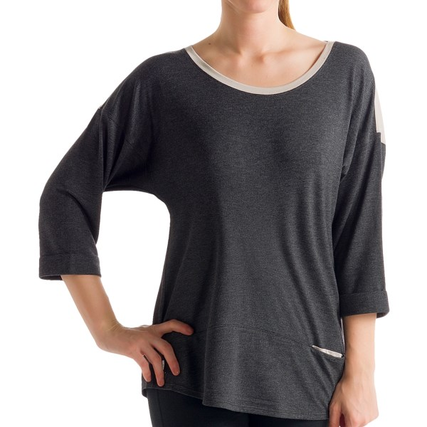 CLOSEOUTS . We canand#39;t decide what we love more about Loleand#39;s Madeline shirt. The modern, color-blocked panels add a chic simplicity thatand#39;s oh-so versatile, but the silky, beautifully draping modal fibers offer an irresistible luxeness. Available Colors: NORTH SEA HEATHER, SILVER CLOUD, DARK CHARCOAL HEATHER, BLACKBERRY DOT, BEAUJOLAIS. Sizes: XS, S, M, L, XL.
