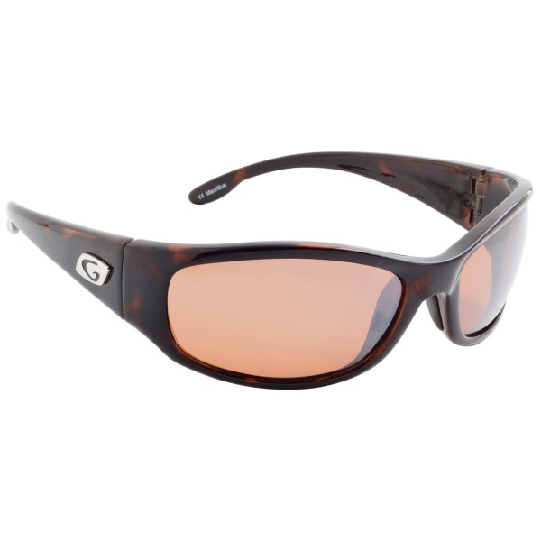 CLOSEOUTS . Polarized to reduce glare, Guidelineand#39;s Kingfisher sunglasses provide full wrap protection from sun, wind and spray with a modified square lens shape. Available Colors: BROWN TORT/COPPER.