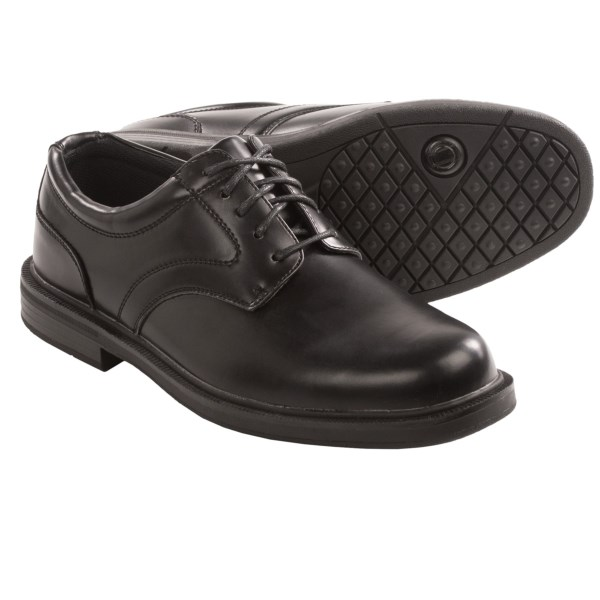 CLOSEOUTS . Oft voted andquot;best casual shoe,andquot; Deer Stagsand#39; Times oxford shoe is perfect for walking work environments. Famous for its S.U.P.R.O. Sock technology, the shoes deliver contoured comfort and excellent shock absorption at the ball and heel. Available Colors: BLACK. Sizes: 8.5, 9, 9.5, 10, 10.5, 11, 11.5, 12, 13, 14, 15, 16.
