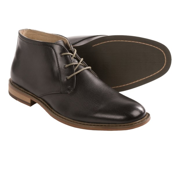 CLOSEOUTS . Fabulous price on a slick leather chukka. Deer Stagsand#39; Seattle boot is a just-right look with denims and deconstructed sport coats. The wood-look sidewalls give it a casually rustic vibe, and the smooth leather upper strikes a dressier tone. Available Colors: BLACK. Sizes: 8, 8.5, 9, 9.5, 10, 10.5, 11, 11.5, 12, 13, 14, 15, 16.