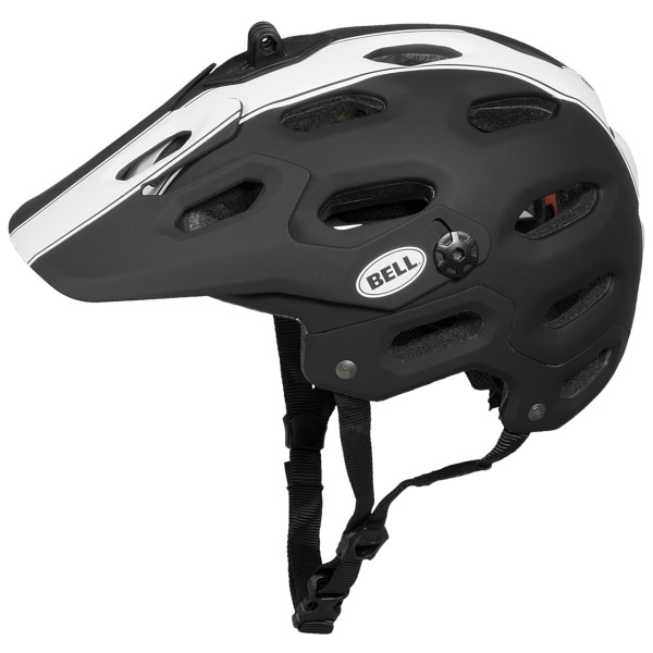 CLOSEOUTS . Belland#39;s Super all-mountain bike helmet is designed for riders who seek rugged trails and adrenaline surges. The well-ventilated, ultralight Fusion In-Mold construction features a removable GoPro camera mount, adjustable visor and moisture-wicking, odor-fighting X-Staticand#174; lining. Available Colors: BRIGHT GREEN, RED/BLACK, WHITE/SILVER WEB, MATTE TITANIUM TAYLOR REEVE AFTERPARTY, BLACK/WHITE STAR, BLUE/GREEN MOTO, MATTE BLACK, MATTE TITANIUM/RED STAR. Sizes: S, M, L.