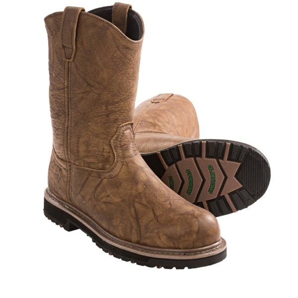 CLOSEOUTS . John Deere Footwearand#39;s EH work boots are built to get the job done right, with a supple leather upper, slip- and oil-resistant rubber outsole, steel safety toe and electrical hazard rating. Available Colors: BROWN. Sizes: 7, 7.5, 8, 8.5, 9, 9.5, 10, 10.5, 11, 11.5, 12, 13, 14.