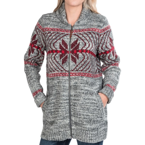 CLOSEOUTS . The classic winter-snowflake design is revived in stylish accuracy in Woolrichand#39;s Native cardigan sweater. The thick-knit fibers are both soft and insulating, and the vintage-inspired design brings a lodge-inspired vibe to anything you pair it with. Available Colors: GREY MARL, NAVY MARL. Sizes: XS, S, M, L, XL, 2XL, 3XL, 4XL.