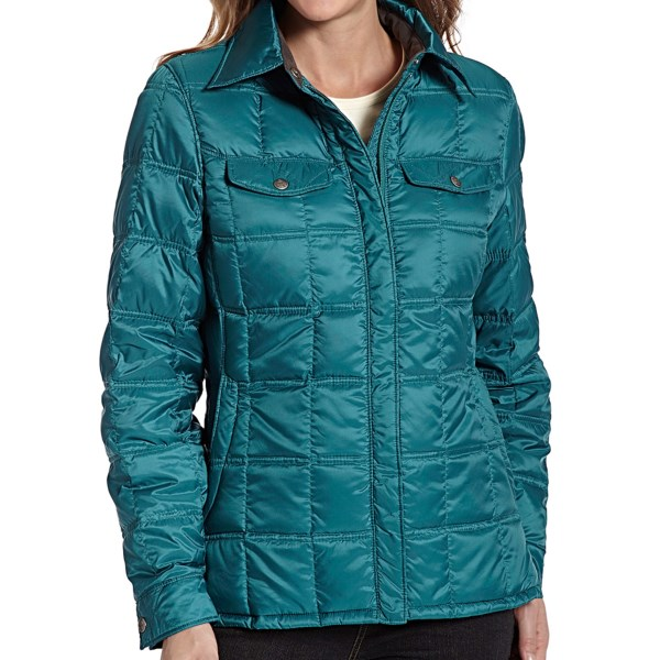CLOSEOUTS . A terrific price on superlative 800 fill power goose down, slimmed down into a shapely shirt jacket style. Woolrichand#39;s Abington jacket is your ticket to instant warmth and light water resistance. Stuff it into its own pocket and keep in your pack or briefcase for unexpected onslaughts of weather. Available Colors: ATLANTIC, BLACKBERRY, BLACK. Sizes: XS, S, M, L, XL, 2XL, 3XL, 4XL, 5XL.