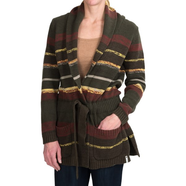 CLOSEOUTS . Keep your fashionista reputation intact this cold-weather season with the cozy yet stylish Woolrich Clover Twisted Stripe cardigan sweater. Made of warm cotton, this cardigan has a sassy shawl collar and a removable tie belt, so you stay comfortable when going from the crisp outside to the toasty inside. Available Colors: LODEN. Sizes: XS, S, M, L, XL, 2XL, 3XL, 4XL.