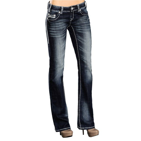 CLOSEOUTS . Indulge your artsy side with Rock andamp; Roll Cowgirland#39;s Mixed Abstract jeans. The dark, vintage-washed denim is expertly adorned with bold contrast stitching at the seams, criss-cross stitching with black rhinestone accents at the pockets, and antiqued logo rivets. Available Colors: DARK WASH. Sizes: 24, 27, 28, 29, 30, 31, 32, 33, 34.
