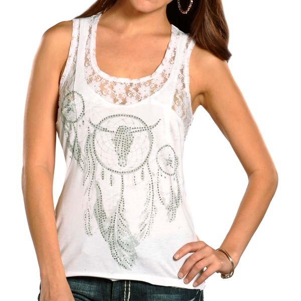 CLOSEOUTS . Raw-edge seaming, lace trim and beautiful, studded print turns the basic tank silhouette into the fashionable marvel that is Rock andamp; Roll Cowgirland#39;s Dream Catcher tank top. Available Colors: WHITE. Sizes: S, M, L, XL.