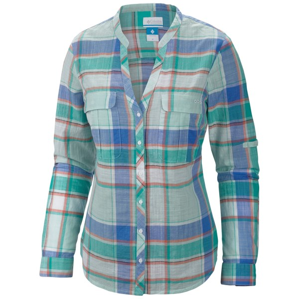 CLOSEOUTS . The Columbia Sportswear Coral Springs shirt presents a vibrant pattern in comfortable cotton with an open collar for relaxed warm-weather style. Button-through chest pockets are perfect for small essentials, and rolled-up sleeves stay in place with button-through tabs. Available Colors: BLOSSOM PINK/LARGE PLAID, CORAL GLOW/CHECK, OCEANIC/LARGE PLAID. Sizes: XS, S, M, L, XL.