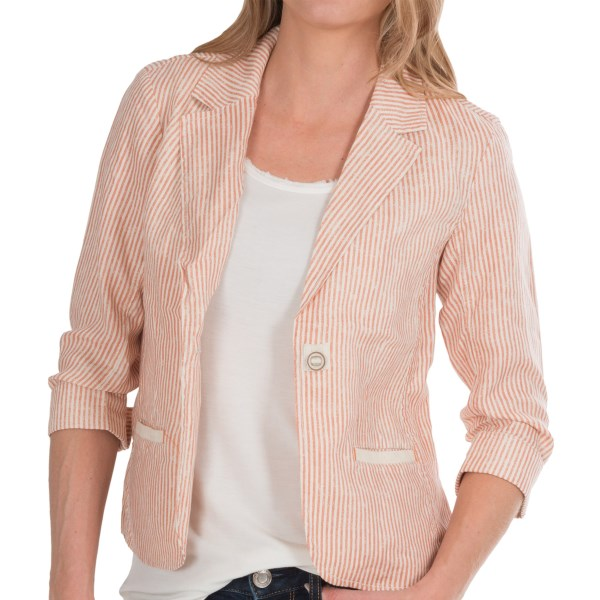 CLOSEOUTS . Trending among denim lovers is a resurgence of the railroad stripe -- that vintage, utilitarian design thatand#39;s lending a fresh and nautical look to modern clothing. Youand#39;ll love the gently faded interpretation in this Michael Stars blazer, fashioned from crisp, breathable linen. Available Colors: SHIPWRECK, SUNSTORM. Sizes: XS, S, M, L.