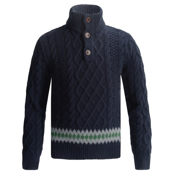 Barbour Kirk Sweater - Button Neck, Lambswool (For Boys)