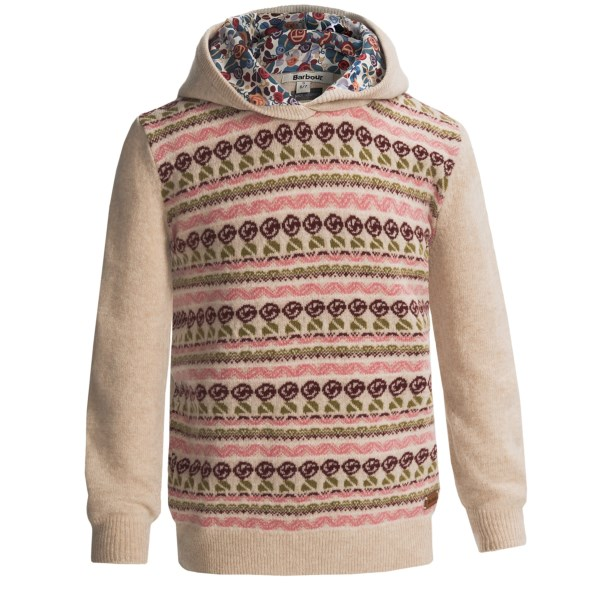 CLOSEOUTS . Perfect for chilly weather, Barbourand#39;s Ashford sweater features a cozy hood with a delightful floral-themed lining. The vibrant, multicolored pattern is certain to bring a dash of color to winter days. Available Colors: PEARL, PEONY. Sizes: S.