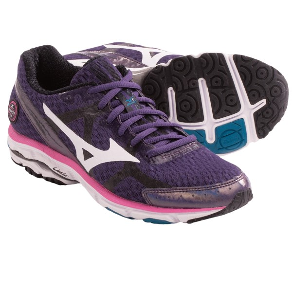 CLOSEOUTS . Catch a wave... on land! Mizunoand#39;s Wave Rider 17 running shoes encourage you to hang ten on the ground, thanks to a versatile, high-milage design thatand#39;s ideal for both neutral runners and those in need of a little extra support. Available Colors: WHITE/DARK SLATE/DEWBERRY, DARK SLATE/CABBAGE/RASPBERRY ROSE, PURPLE PLUMERIA/WHITE/SHOCKING PINK. Sizes: 6, 6.5, 7, 7.5, 8, 8.5, 9, 9.5, 10, 10.5, 11, 11.5, 12.