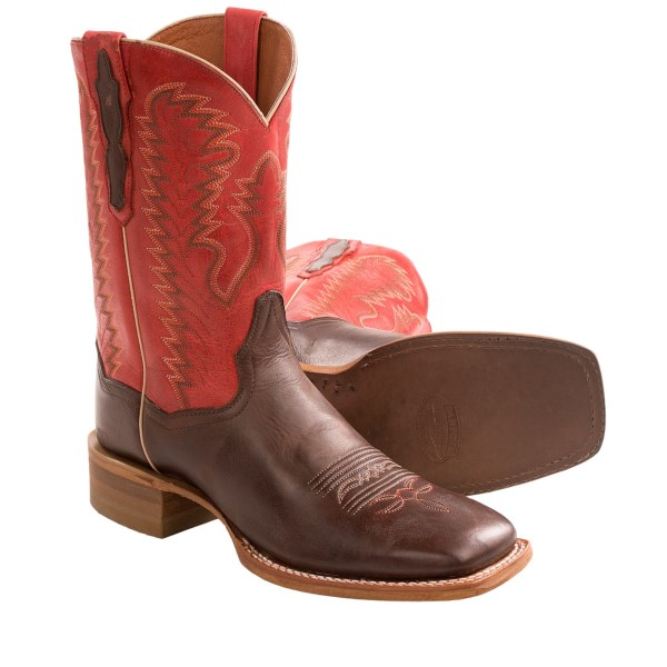 CLOSEOUTS . If youand#39;re looking for classic, cowboy-approved boots with comfort to spare, itand#39;s Dan Postand#39;s 11andquot; Flagger cowboy boots youand#39;ll want to flag down. Handcrafted from collar to toe, theyand#39;re durable as can be, and the Ultimate Flex footbed employs a stabilizing, three-part insole with antimicrobial Poronand#174; treatment to comfort/support feet and control odor. Available Colors: SADDLE/RED. Sizes: 7, 7.5, 8, 8.5, 9, 9.5, 10, 10.5, 11, 12, 13.