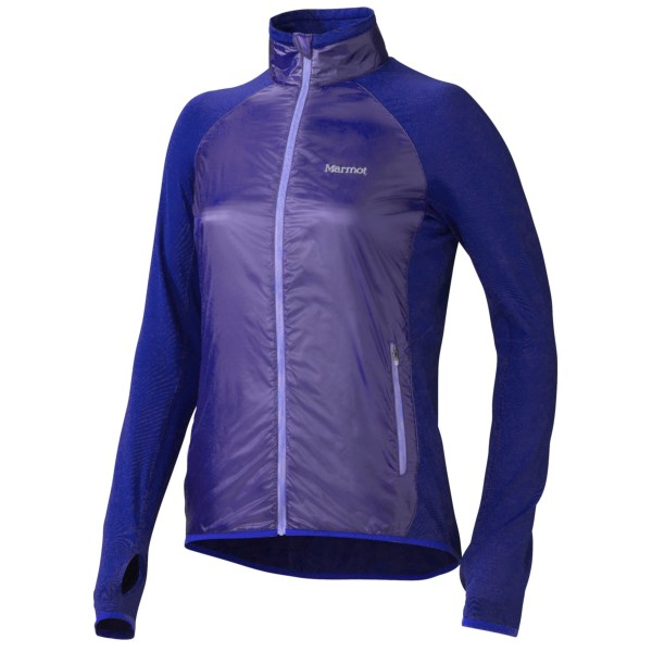 CLOSEOUTS . Marmotand#39;s Frequency Hybrid jacket is a lightweight layer thatand#39;s prepared to do the heavy lifting for your high-pulse, outdoor workouts. The Polartecand#174; Power Dryand#174; High Efficiency lining wicks moisture to keep you dry, the nylon front delivers outstanding wind protection, and the back and arms stretch for greater range of motion. Available Colors: ASTRAL BLUE/VIBRANT ROYAL, ICE GREEN/LUSH. Sizes: XS, S, M, L, XL.