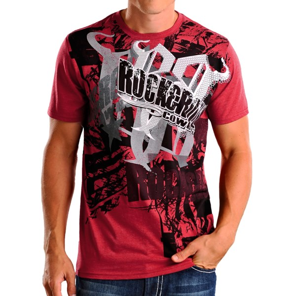 CLOSEOUTS . The Rock andamp; Roll Cowboy logo collage T-shirt delivers a classic look with a sweet, multi-tone graphic that keeps all eyes on your bold style. Available Colors: RED/BLACK, CHARCOAL/ORANGE STAR. Sizes: S, M, L, XL.