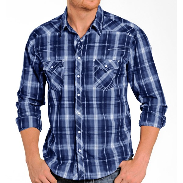 Rock and Roll Cowboy X-Stitch Plaid Shirt - Snap Front, Long Sleeve (For Men)