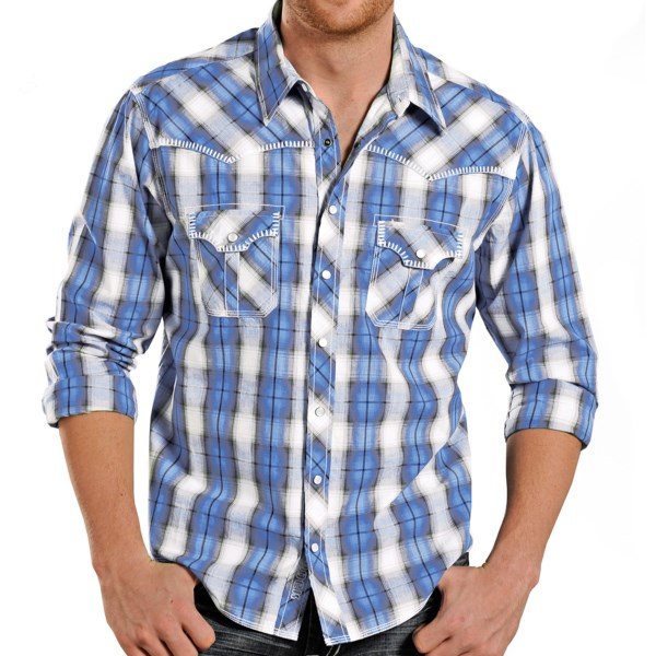 Rock and Roll Cowboy Blanket Stitch Plaid Shirt - Snap Front, Long Sleeve (For Men)