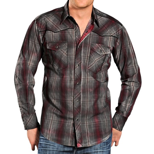 Panhandle Slim 90 Proof Poplin Plaid Shirt - Snap Front, Long Sleeve (For Men)