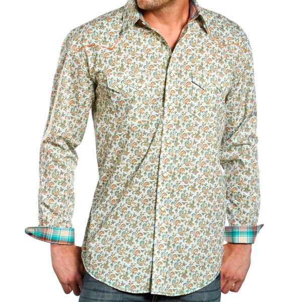 CLOSEOUTS . Rough Stock by Panhandle Slimand#39;s Wilcox Vintage Print western shirt is heavily seasoned with Old West influence -- from the throwback print to the pearlized snaps to the contrast whipstitching. Available Colors: 37 MOSS GREEN. Sizes: S, M, L, XL, 2XL.