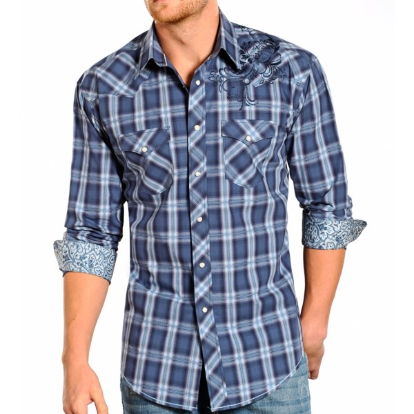 Rough Stock by Panhandle Slim Post Oak Plaid Shirt - Snap Front, Long Sleeve (For Men)