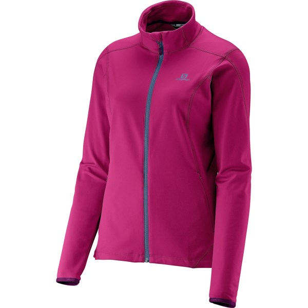 CLOSEOUTS . Salomonand#39;s Discovery jacket is lightweight, but offers serious midlayer warmth when the temperature plummets. The soft, insulating microfleece backing protects your core temperature, flatlock seams deliver chafe-free comfort, and the full-zip design allows for adjustable ventilation so you wonand#39;t overheat. Available Colors: BLACK, CASCADE GREEN, DAISY PINK, DUSTY SUN-X, METHYL BLUE, WHITE. Sizes: XS, S, M, L, XL.