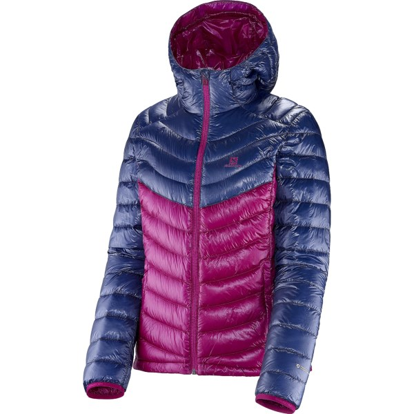 CLOSEOUTS . Salomonand#39;s Super Halo II down jacket is lightweight, but heavy on cold-fighting features. 700 fill power down insulation seals in heat, and an ultralight Pertexand#174; Quantum ripstop shell stands up to abuse. Available Colors: METHYL BLUE/POPPY, MYSTIC PURPLE/ABYSS BLUE, WHITE/YELLOWSTONE. Sizes: S, M, L, XL, XS.