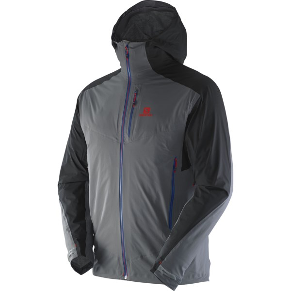 CLOSEOUTS . Engineered for trail adventures in challenging conditions, Salomonand#39;s Minim jacket is lightweight, but packs a heavy weather-busting punch. The climaPRO waterproof breathable fabric is fully seam sealed and stows easily when not in use. The attached hood delivers additional coverage in wet weather, and the pit zips make sure you wonand#39;t overheat on the way to the summit. Available Colors: DARK CLOUD/BLACK, DUSTY, MATADOR-X/RD. Sizes: 2XL, M, L, XL.