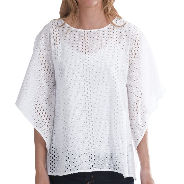 CLOSEOUTS . Layered over a camisole or tank, this roomy August Silk poncho instantly infuses your look with the summery elegance of eyelets. Available Colors: WHITE, EVENING BLUE. Sizes: S, M, L, XL.