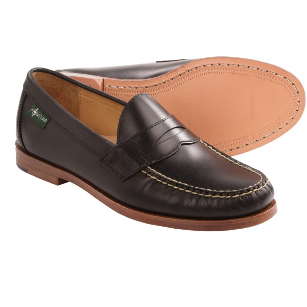 CLOSEOUTS . A rich and full-bodied modern take on the classic penny loafers of your childhood, Eastlandand#39;s Stratton 1955 penny loafers are constructed of fine ingredients to create irresistible footwear. Available Colors: BLACK, BURGUNDY. Sizes: 9.5, 10, 10.5, 11, 11.5, 12, 13.