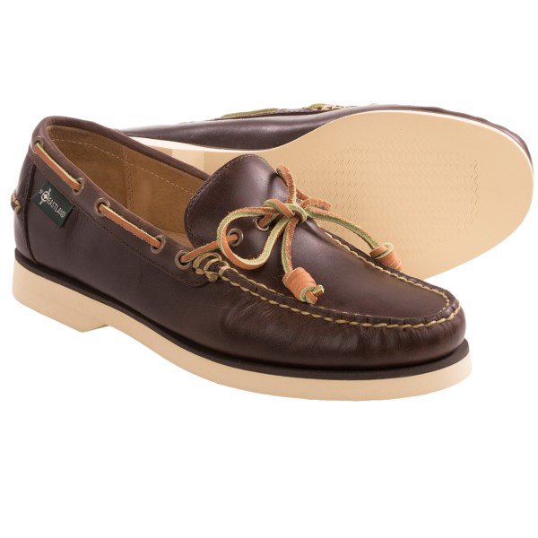 CLOSEOUTS . From your prep school days to lazy weekends after a long work week, Eastlandand#39;s Sullivan 1955 boat shoes are made from premium leather with handsewn construction which exudes confidence and class. Available Colors: OAK. Sizes: 8, 8.5, 9, 9.5, 10, 10.5, 11, 11.5, 12, 13.