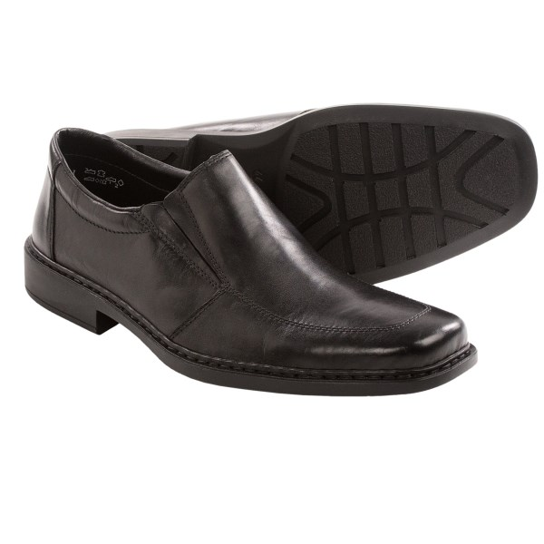 CLOSEOUTS . Riekerand#39;s Maurice 75 shoes have a classic slip-on style thatand#39;s never out of fashion. These full-grain leather shoes feature anti-stress technology to provide all-day comfort. Available Colors: BLACK. Sizes: 40, 41, 42, 43, 44, 45, 46, 47.