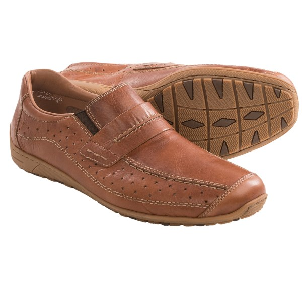 CLOSEOUTS . Cosmopolitan in appearance, Rieker Georg slip-on shoes also offer excellent cushioning. The leather upper has perforation details, an instep strap and side gores for a comfortable fit. Available Colors: BROWN. Sizes: 40, 41, 42, 43, 44, 45, 46.