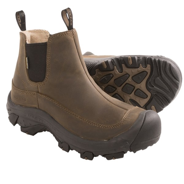 CLOSEOUTS . From wet and slick city streets to snowy mountain trails, Keenand#39;s Anchorage boot delivers firm footing and protection from the elements. The KEEN.DRYand#174; waterproof breathable membrane stands up to harsh conditions, and KEEN.WARMand#174; insulation seals in the heat when the temperature drops. Available Colors: DARK EARTH/SHITAKE. Sizes: 8, 8.5, 9, 9.5, 10, 10.5, 11, 11.5, 12, 13, 14.