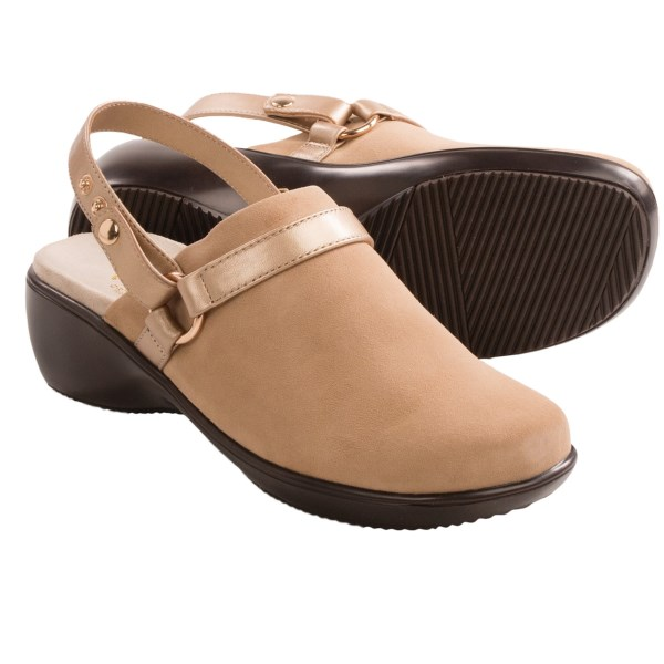 CLOSEOUTS . Slip-ons or sassy sling-backs? Vionicand#39;s Adelaide clogs can be either simply by attaching or removing the slim leather heel strap. Underfoot, the brandand#39;s signature footbed cushions and supports while adding ample arch support and pronation control. Available Colors: BLACK, KHAKI, TAUPE. Sizes: 5, 6, 7, 8, 9, 10, 11.