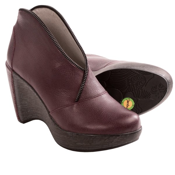CLOSEOUTS . Stay looking and feeling fierce all day thanks to Jambuand#39;s Indigo boots. They make a statement in smooth leather with decorative zipper detail, and the memory-foam insole makes it easy to work the leather-accented wedge heel. Available Colors: BLACK LEATHER, BURGUNDY LEATHER, DARK TAUPE LEATHER. Sizes: 6, 6.5, 7, 7.5, 8, 8.5, 9, 9.5, 10, 11.
