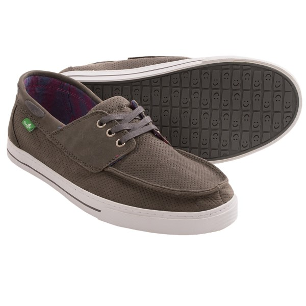 CLOSEOUTS . All things are smooth sailing when you sport Sanukand#39;s Motorboat shoes. Featuring a cool, micro-perforated leather upper, these shoes have a go-with-the-flow look, and the supersoft, high-rebound EVA footbed feels like a mini vacay for your soles. Available Colors: BRINDLE, CHARCOAL, TAN, BLACK. Sizes: 7, 8, 9, 14, 10, 12.