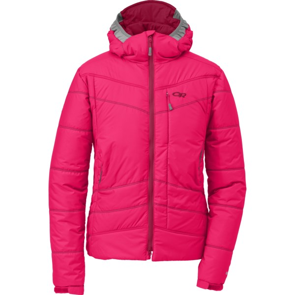 CLOSEOUTS . A favorite of mountain guides when conditions are wet and the wind wonand#39;t stop, the Outdoor Research Chaos jacket places high-loft PrimaLoftand#174; ONE insulation inside a weather-resistant Pertexand#174; Endurance shell. Available Colors: BLACK, ABYSS/ALPINE LAKE, DESERT SUNRISE/MULBERRY. Sizes: XS, S, M, L.