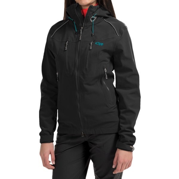 CLOSEOUTS . Outdoor Researchand#39;s Valhalla jacket offers Gore Windstopperand#174; windproof construction, excellent ventilation and a roomy fit. The result is movement-friendly, weather-resistant performance on long climbs and high-speed descents. Available Colors: BLACK, ALPINE LAKE/ABYSS, DESERT SUNRISE/MULBERRY. Sizes: XS, S, M, L, XL.