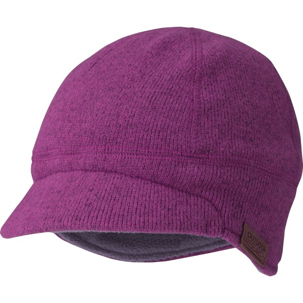 CLOSEOUTS . No more cold little ears and worried mothers. Outdoor Researchand#39;s Longhouse beanie hat covers your little oneand#39;s ears and head and features a stylish brim and soft interior. Available Colors: ORCHID. Sizes: XS/S, M/L.